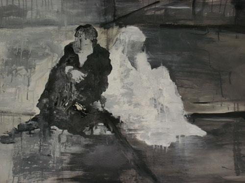Ασπρο-μαύρο-μεικτή τεχνική σε χαρτί-100χ70